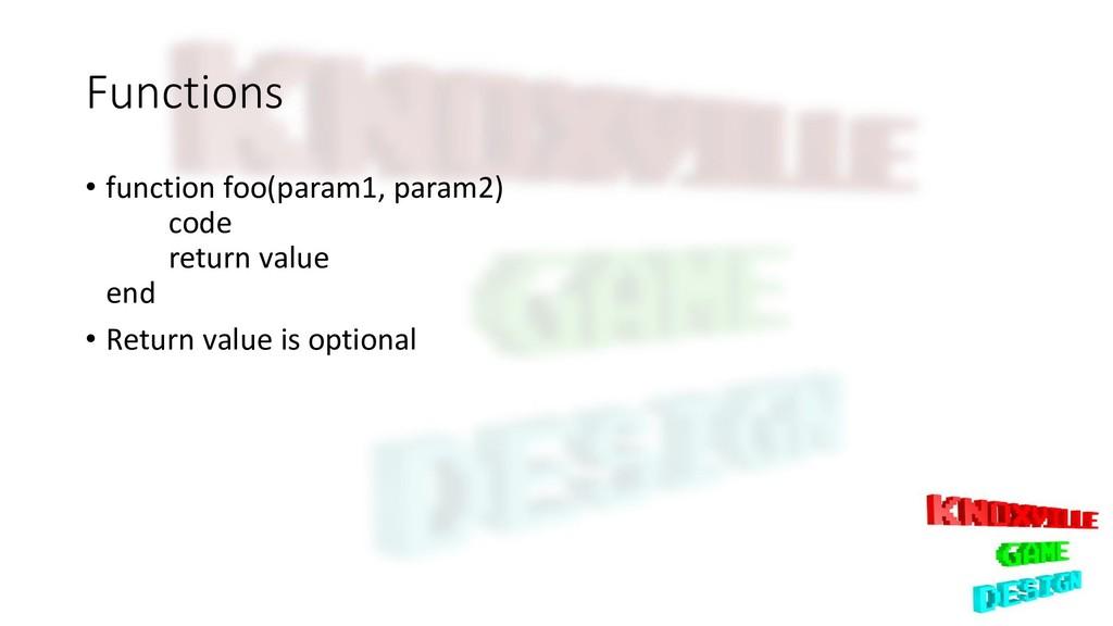 Functions • function foo(param1, param2) code r...