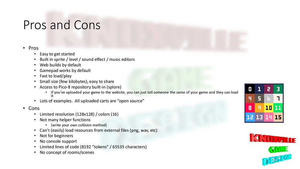 Pros and Cons • Pros • Easy to get started • Bu...