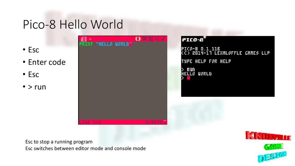 Pico-8 Hello World • Esc • Enter code • Esc • >...