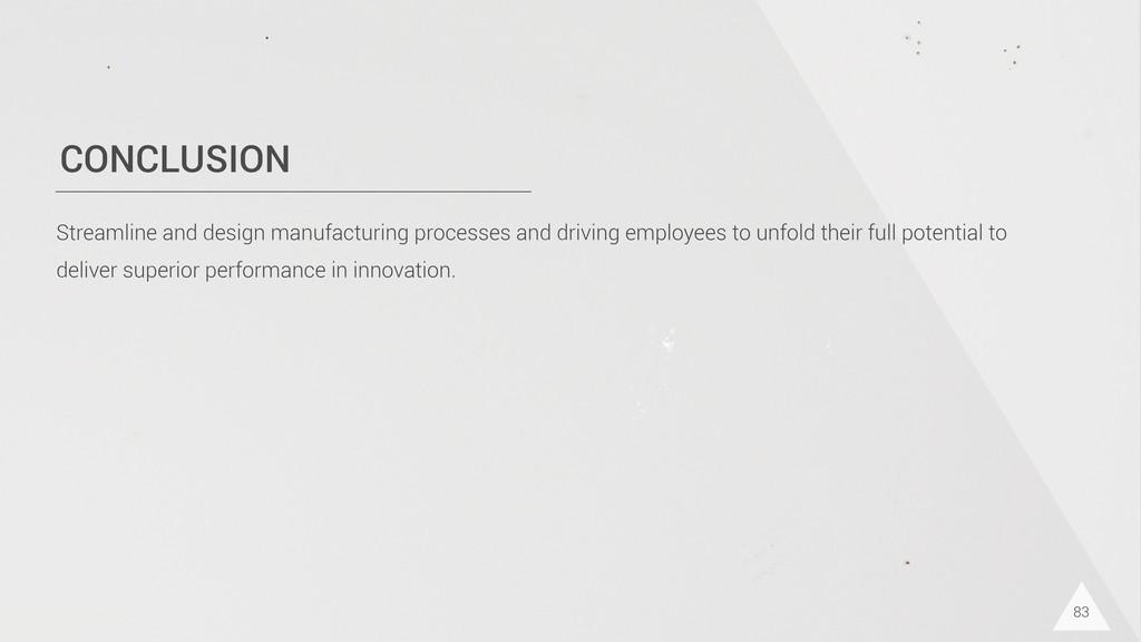 CONCLUSION 83 Streamline and design manufacturi...