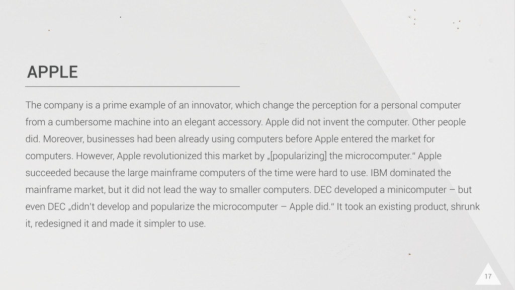 APPLE 17 The company is a prime example of an i...