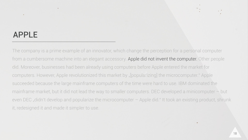 APPLE 18 The company is a prime example of an i...