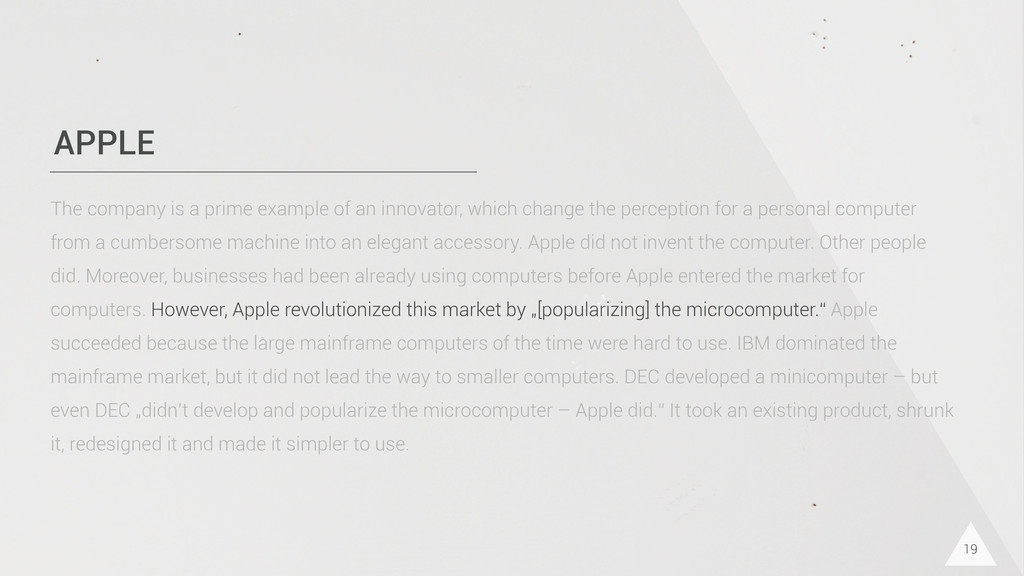 APPLE 19 The company is a prime example of an i...