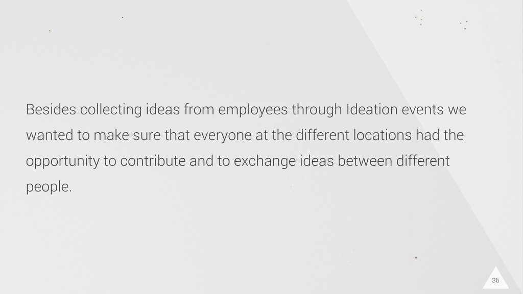 36 Besides collecting ideas from employees thro...