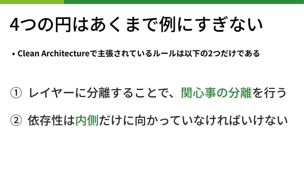 4つの円はあくまで例にすぎない • Clean Architectureで主張されているルール...