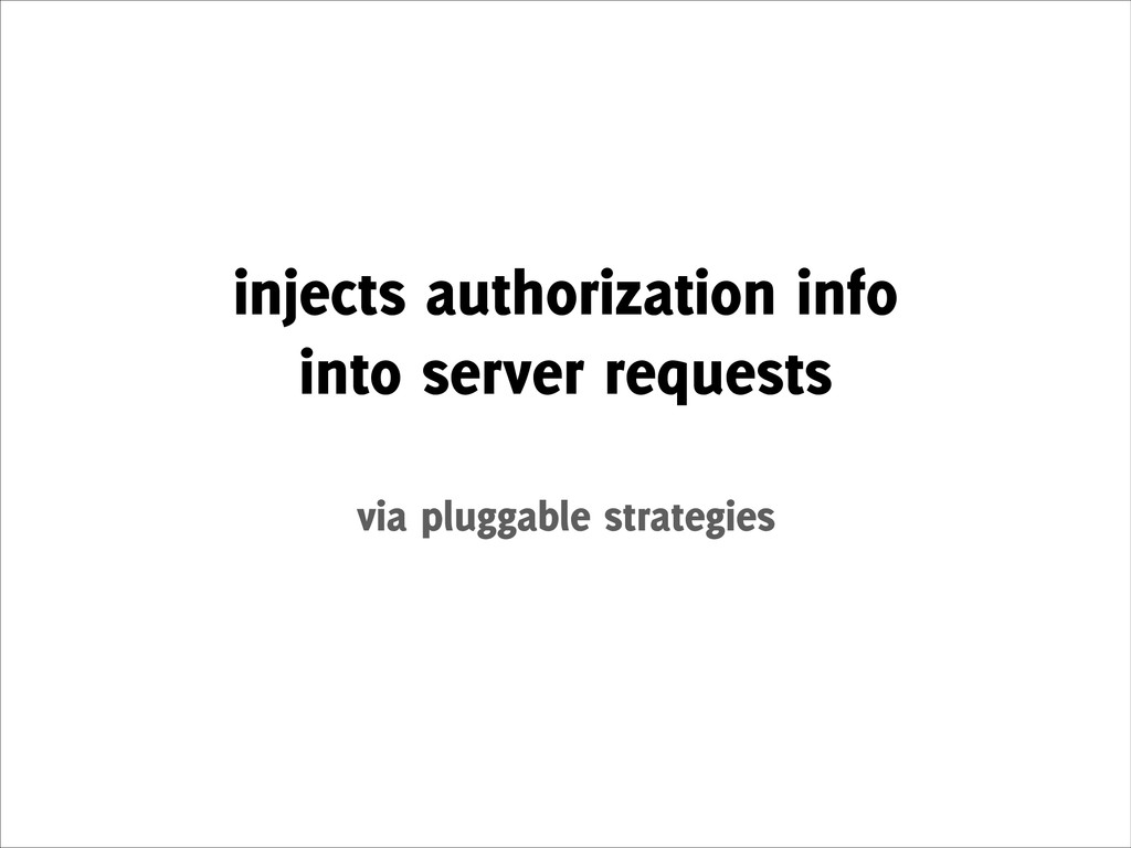 injects authorization info into server request...