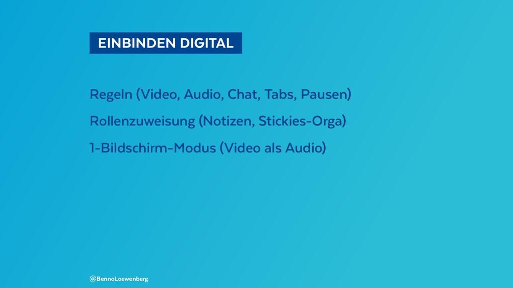 EINBINDEN DIGITAL Regeln (Video, Audio, Chat...