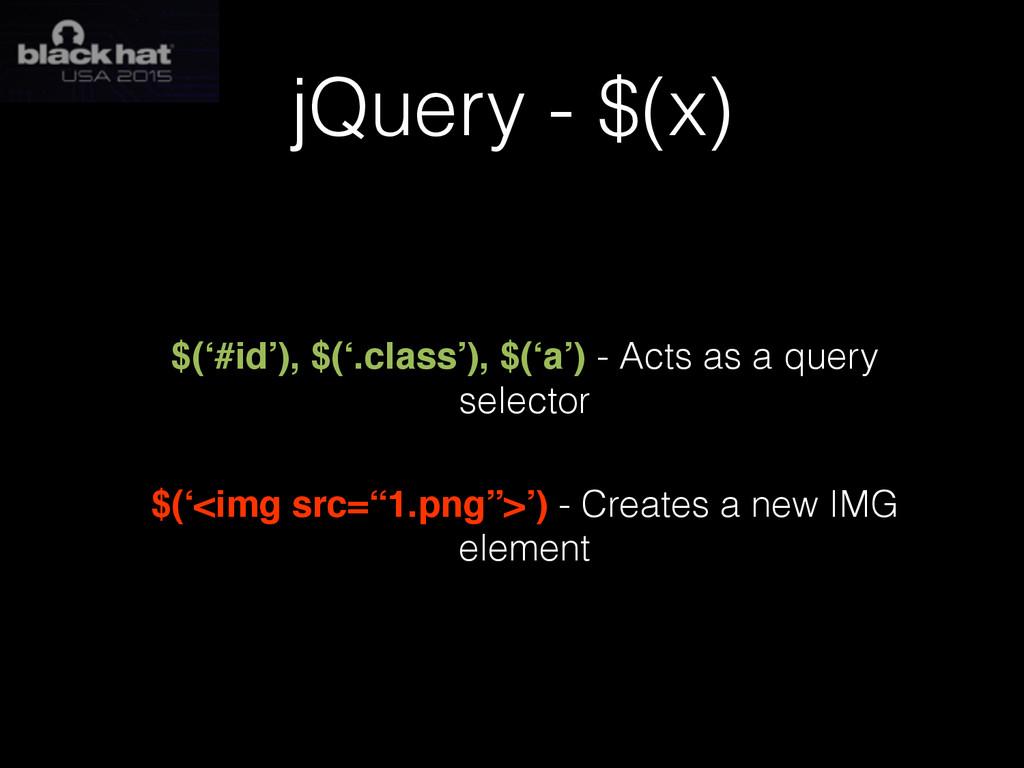 jQuery - $(x) $('#id'), $('.class'), $('a') - A...
