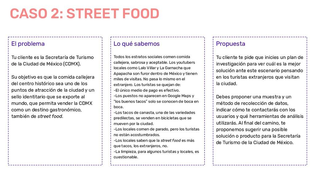 CASO 2: STREET FOOD El problema Tu cliente es l...