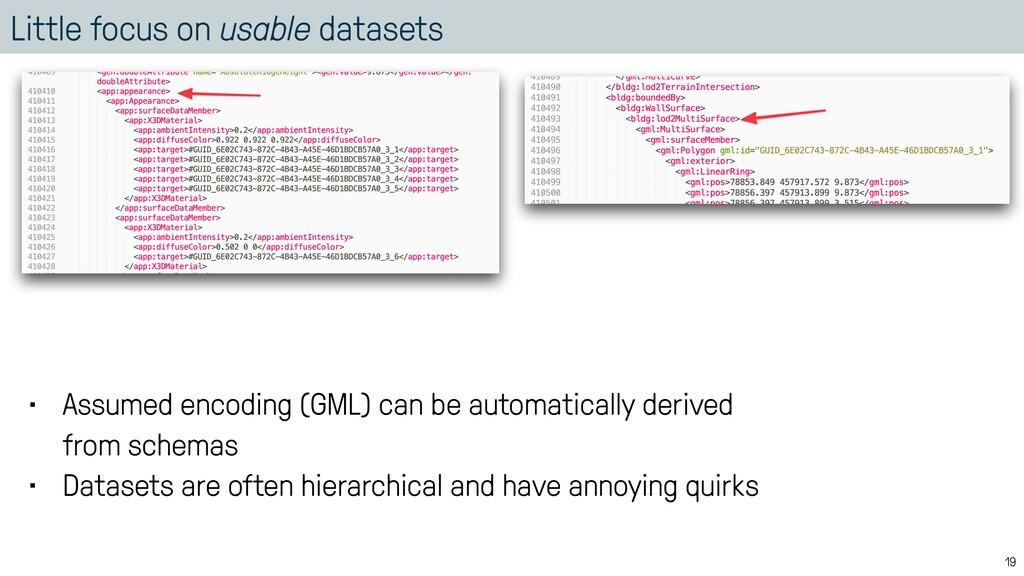 Little focus on usable datasets 19 • Assumed en...