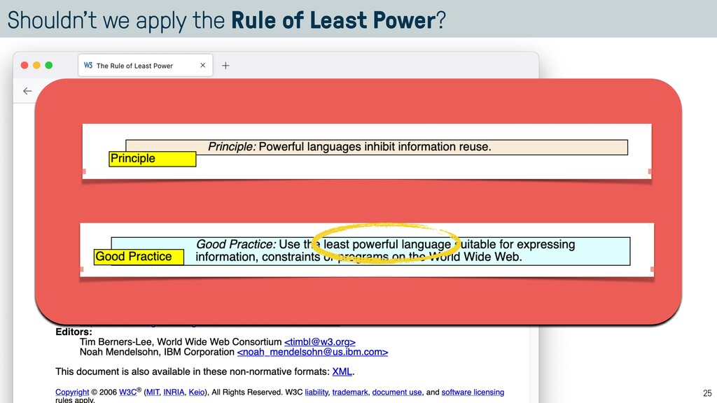 Shouldn't we apply the Rule of Least Power? 25
