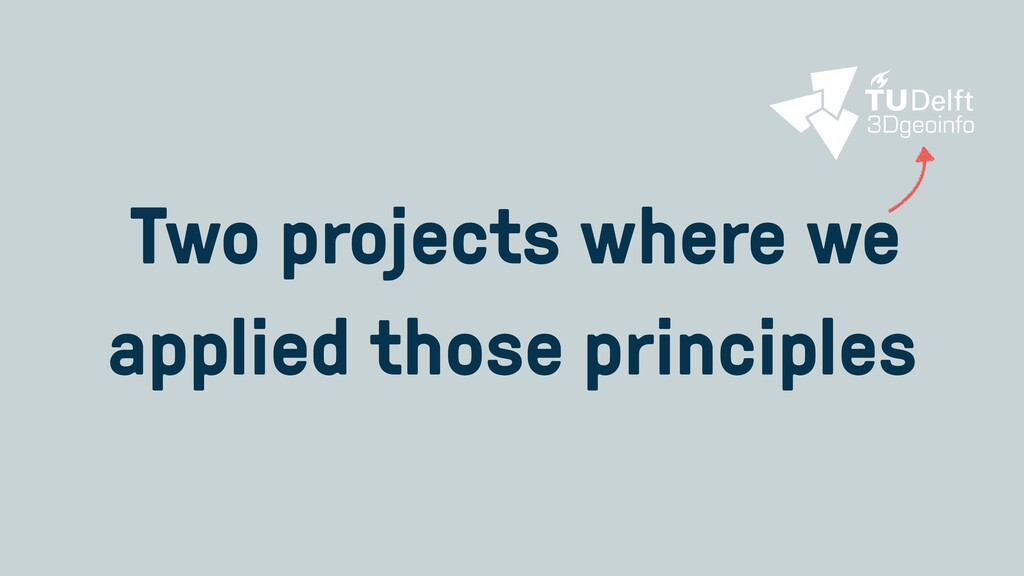 Two projects where we applied those principles