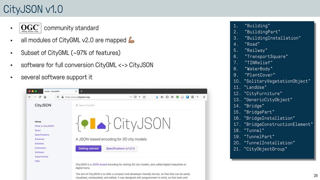 "CityJSON v1.0 28 1. ""Building""   2. ""BuildingPa..."