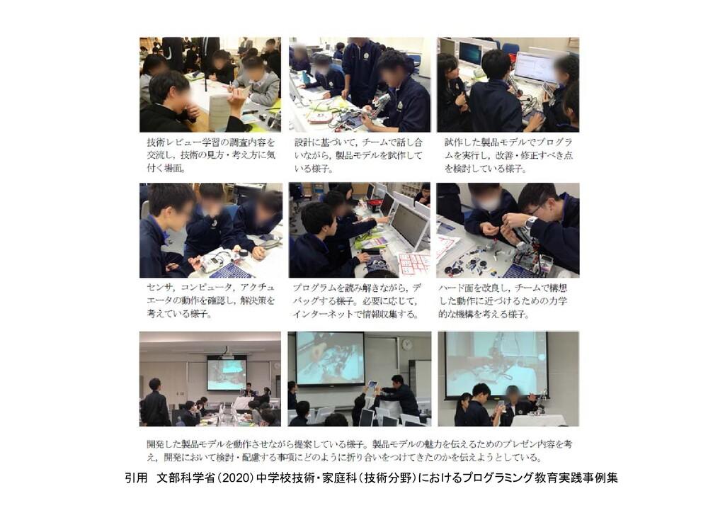 引用 文部科学省(2020)中学校技術・家庭科(技術分野)におけるプログラミング教育実践事例集