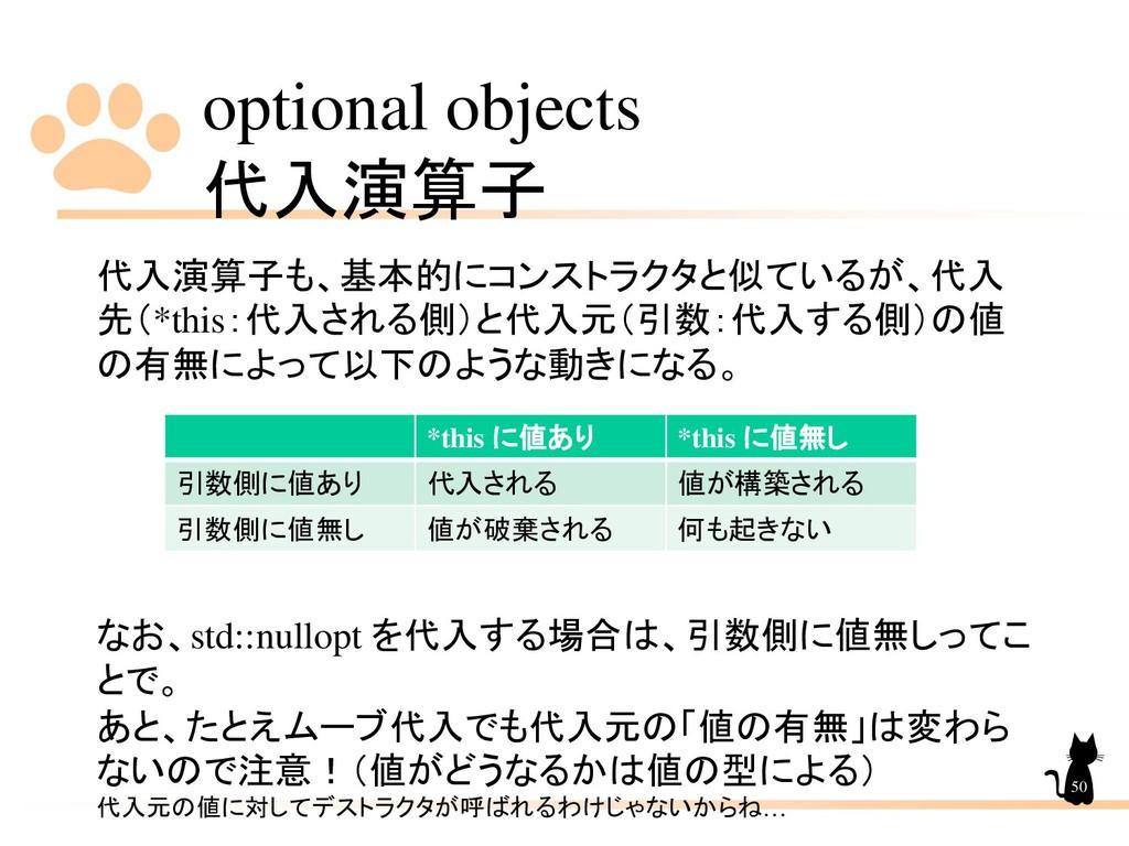 optional objects 代入演算子 50 代入演算子も、基本的にコンストラクタと似て...