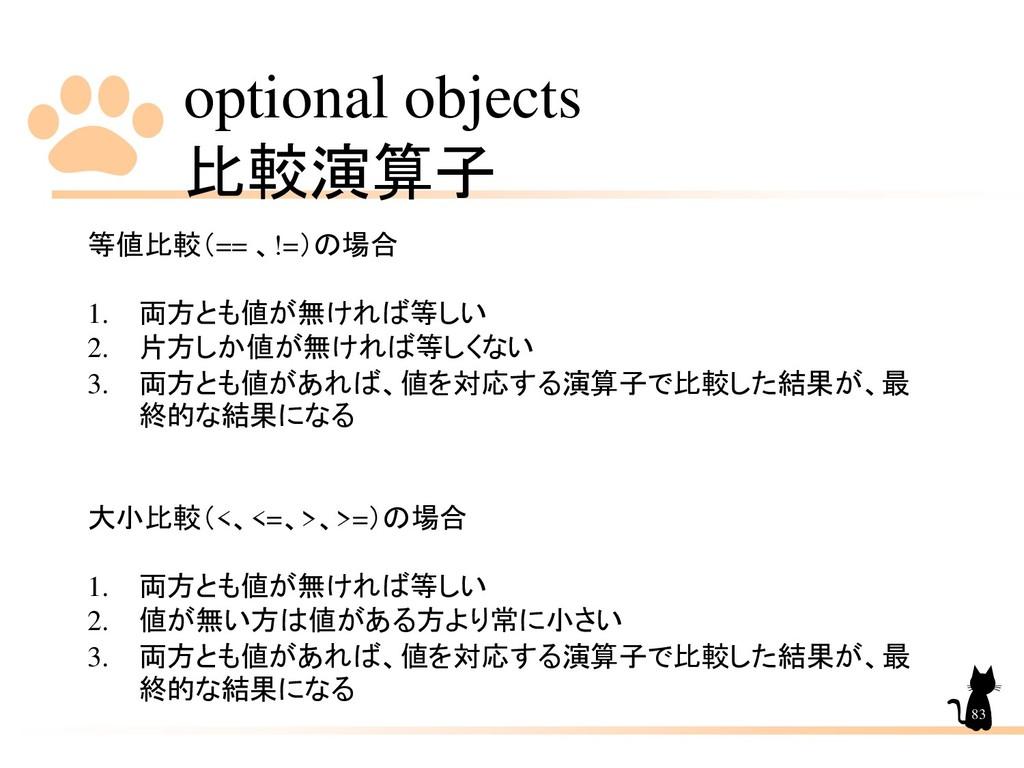 optional objects 比較演算子 83 等値比較(== 、!=)の場合 1. 両方...