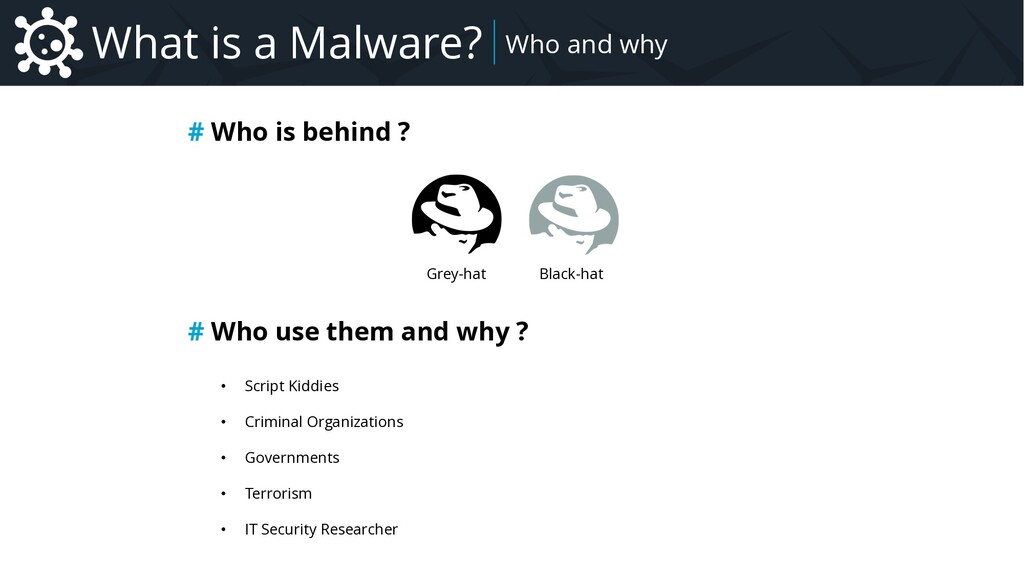 What is a Malware? # Who is behind ? Grey-hat B...