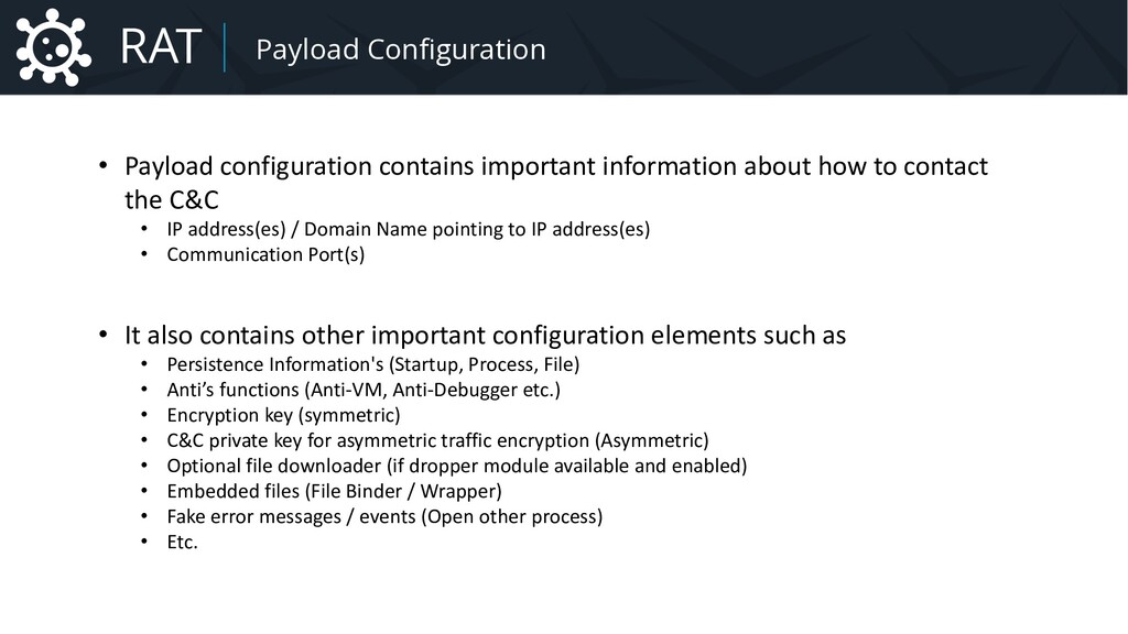 Malware Payload Configuration • Payload configu...
