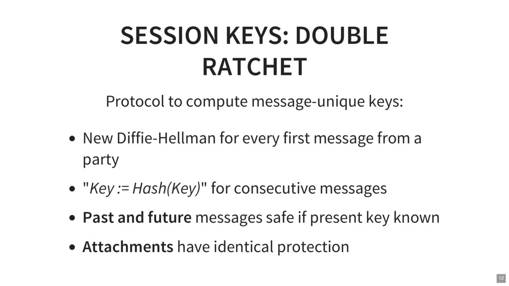 SESSION KEYS: DOUBLE RATCHET Protocol to comput...