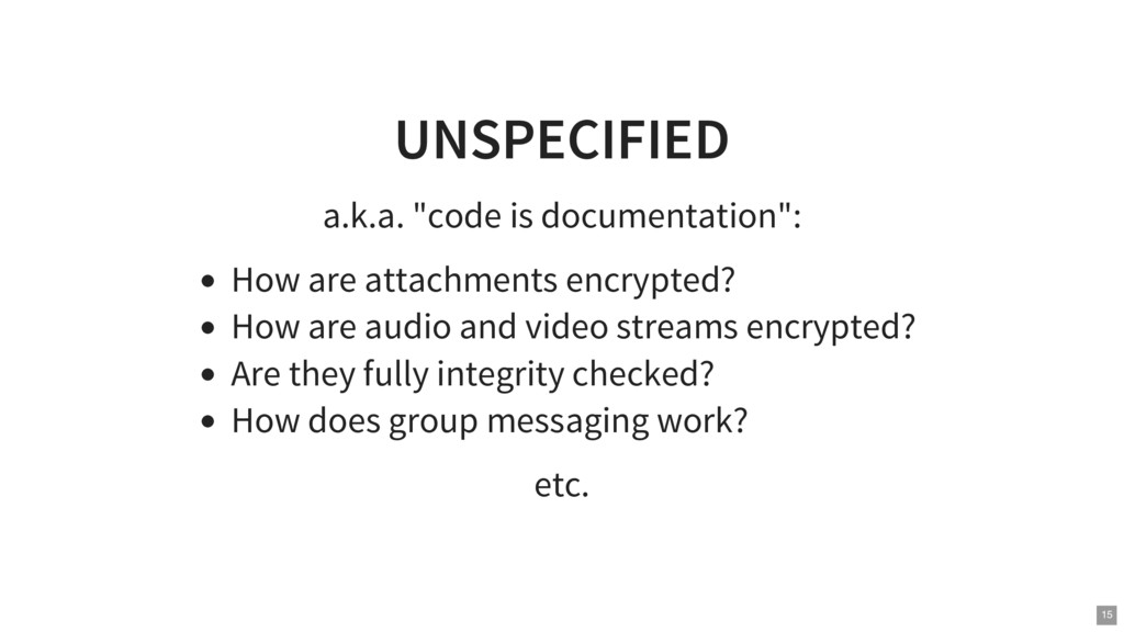 "UNSPECIFIED a.k.a. ""code is documentation"": How..."