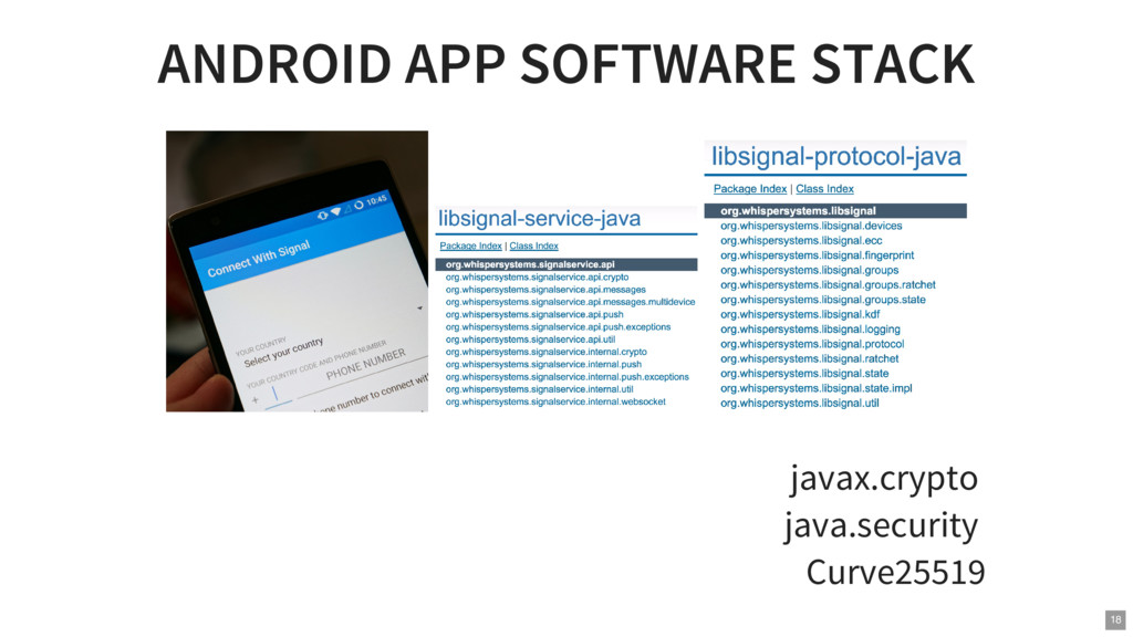 ANDROID APP SOFTWARE STACK javax.crypto java.se...