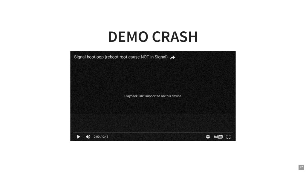 DEMO CRASH Playback isn't supported on this dev...