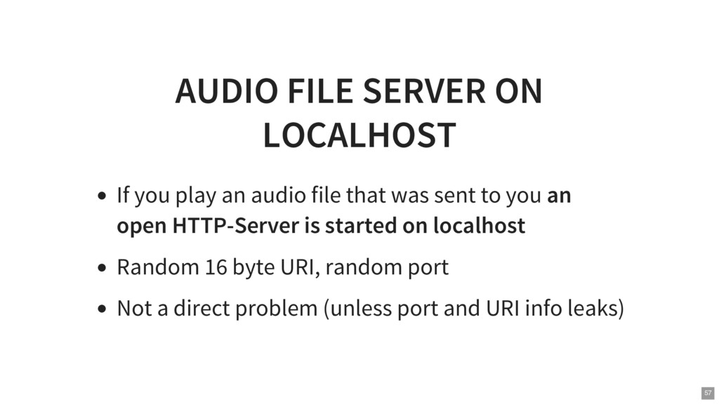 AUDIO FILE SERVER ON LOCALHOST If you play an a...