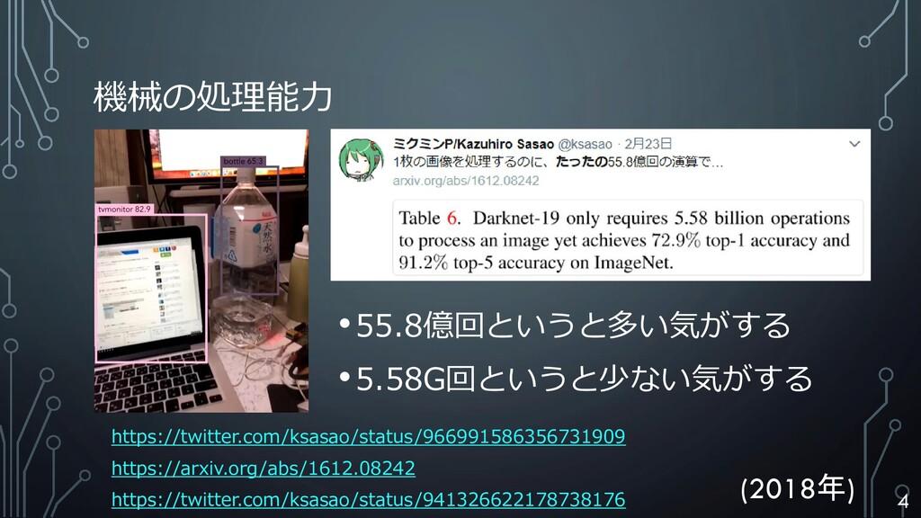 機械の処理能力 https://twitter.com/ksasao/status/96699...