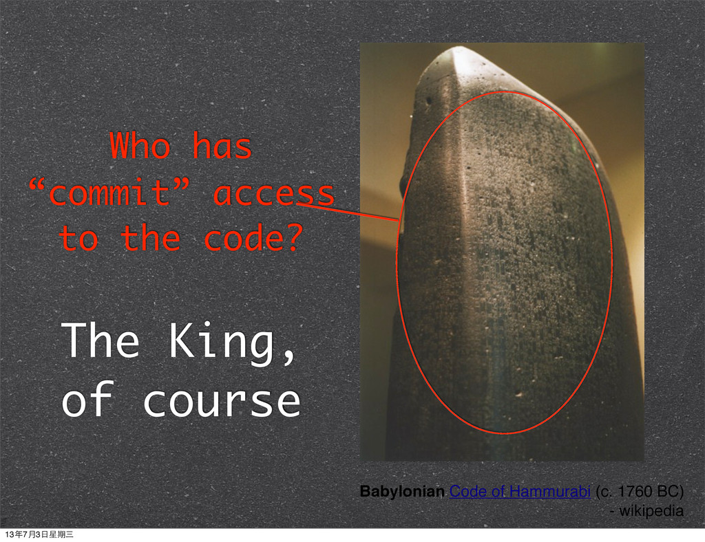 "Who has ""commit"" access to the code? The King, ..."
