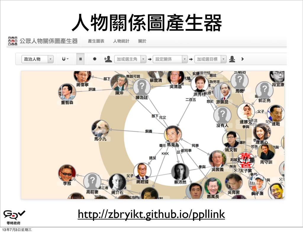 人物關係圖產生器 http://zbryikt.github.io/ppllink 13年7月...