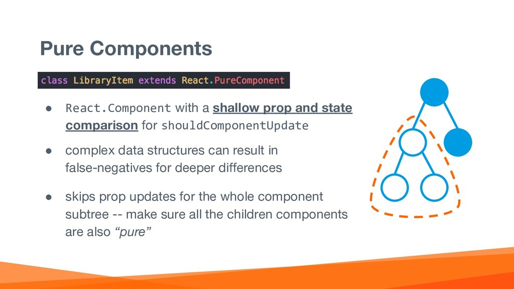 Pure Components ● React.Component with a shallo...