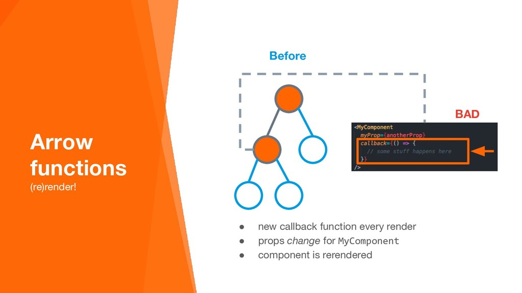 Before ● new callback function every render ● p...
