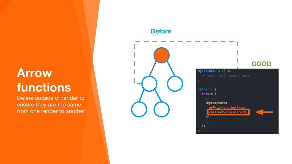Before Arrow functions Define outside of render...