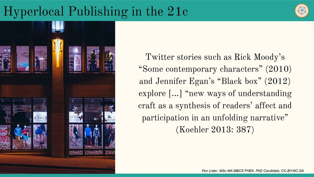 """Twitter stories such as Rick Moody's """"Some cont..."""