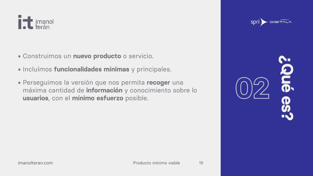 Producto mínimo viable imanolteran.com • Constr...