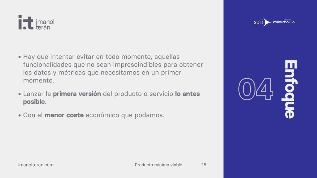 Producto mínimo viable imanolteran.com • Hay qu...