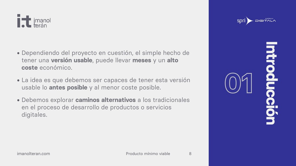 Producto mínimo viable imanolteran.com • Depend...