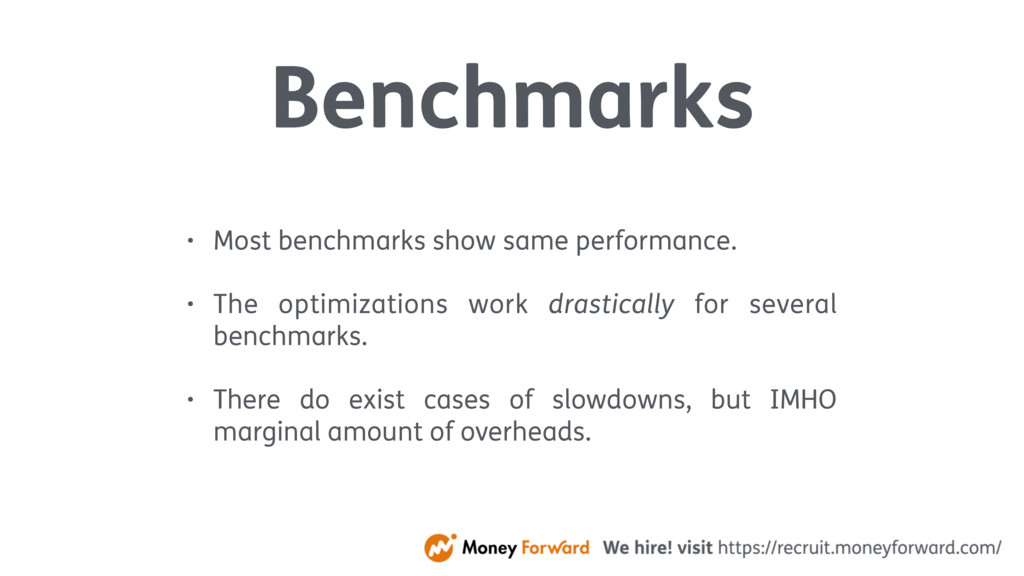 Benchmarks • Most benchmarks show same performa...