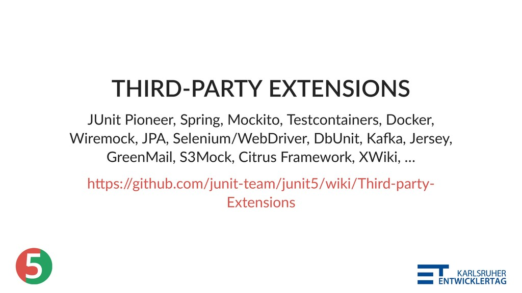 5 THIRD‑PARTY EXTENSIONS JUnit Pioneer, Spring,...