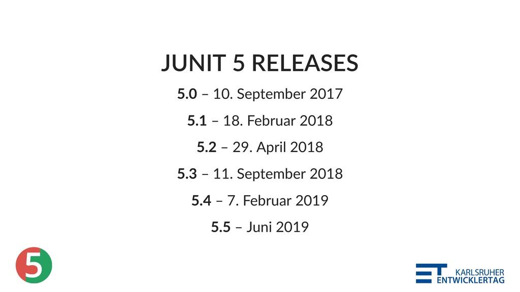 5 JUNIT 5 RELEASES 5.0 – 10. September 2017 5.1...