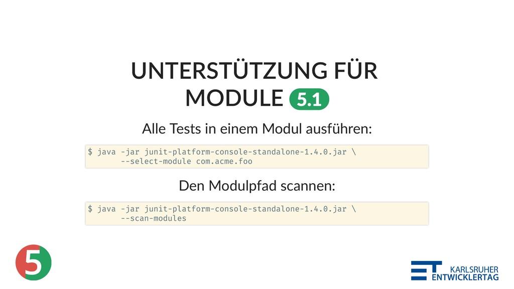 5 UNTERSTÜTZUNG FÜR MODULE 5.1 Alle Tests in ei...