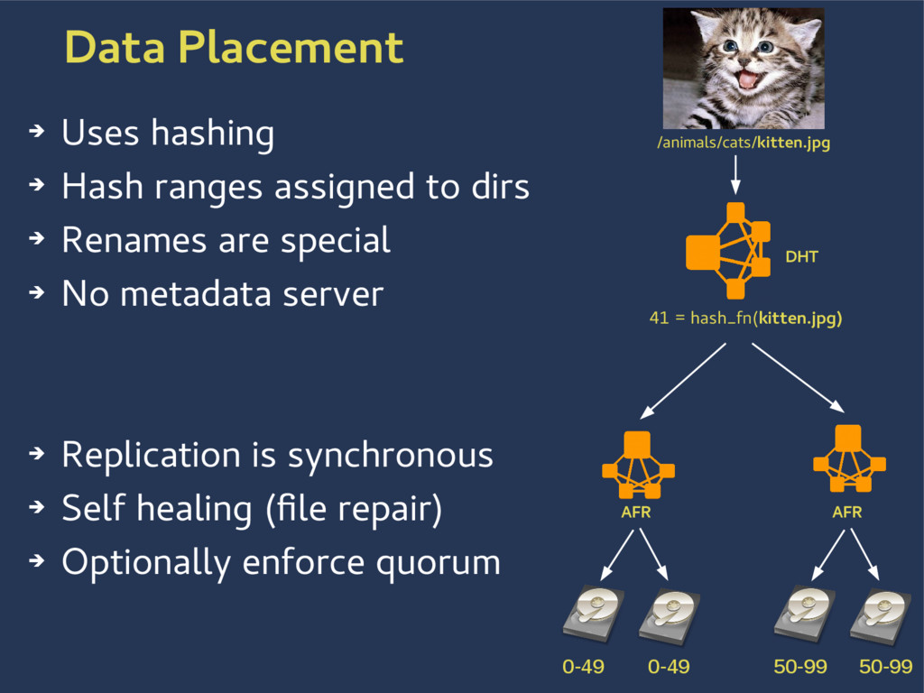 Data Placement ➔ Uses hashing ➔ Hash ranges ass...