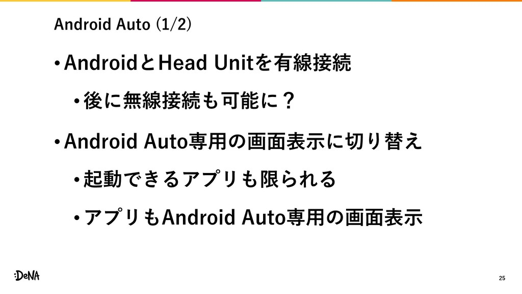 Android Auto (1/2) • AndroidとHead Unitを有線接続 •後に...