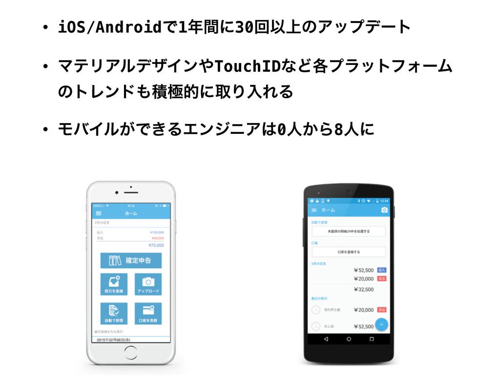 • iOS/AndroidͰ1ؒʹ30ճҎ্ͷΞοϓσʔτ • ϚςϦΞϧσβΠϯTouc...
