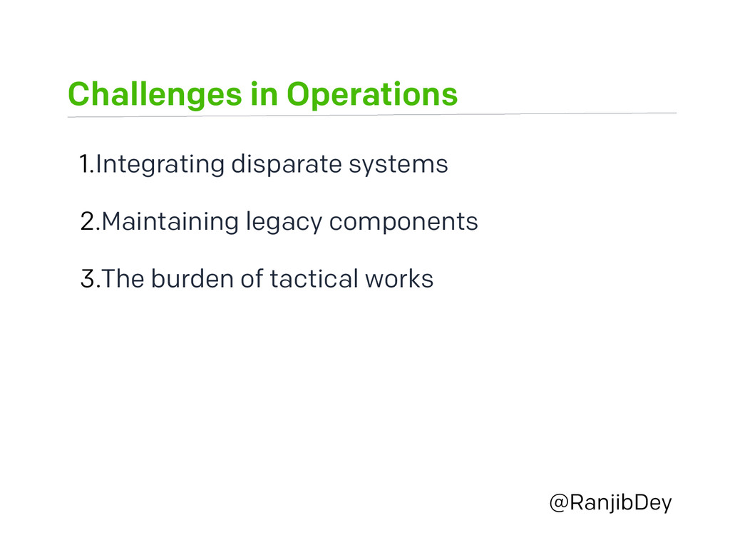 Challenges in Operations @RanjibDey 1.Integrati...