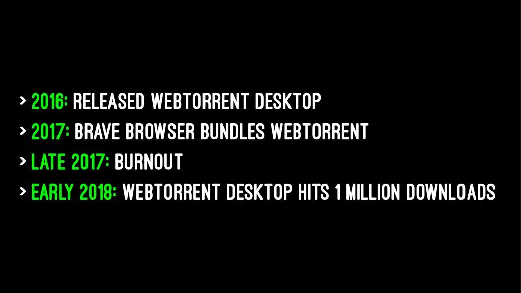 > 2016: Released WebTorrent Desktop > 2017: Bra...