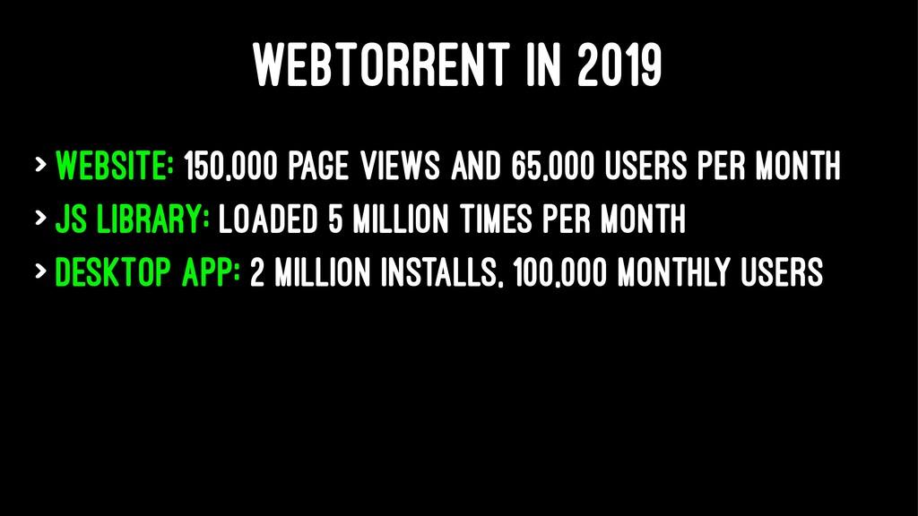 WEBTORRENT IN 2019 > Website: 150,000 page view...