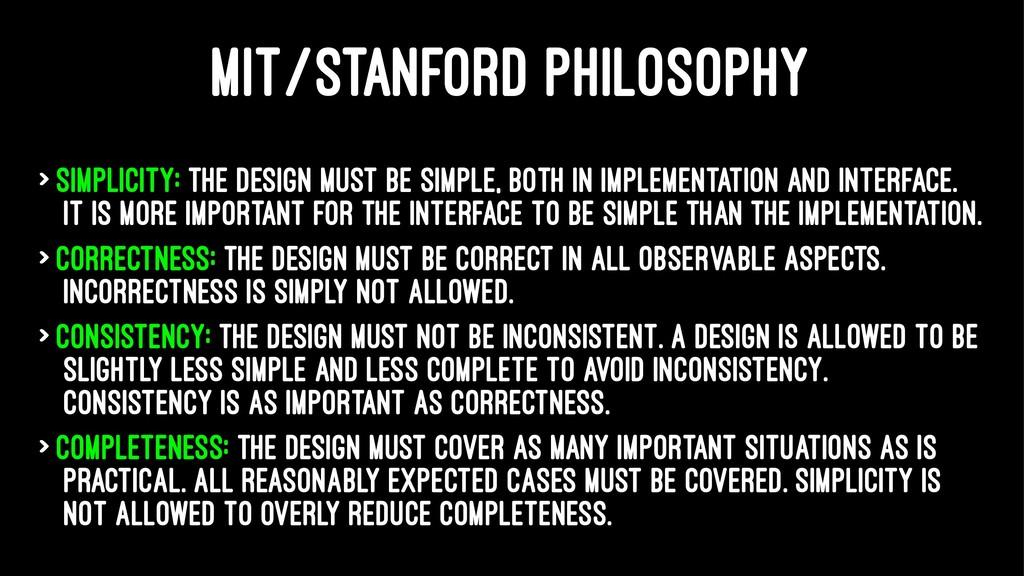MIT/STANFORD PHILOSOPHY > Simplicity: the desig...