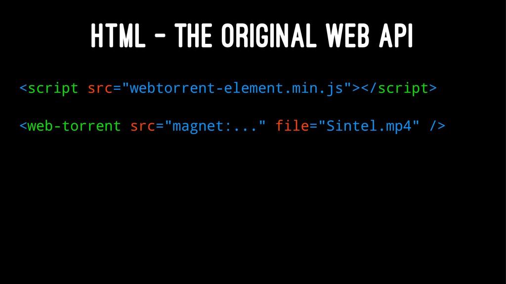 """HTML – THE ORIGINAL WEB API <script src=""""webtor..."""