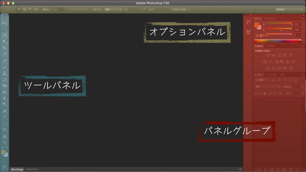 オプションパネル ツールパネル パネルグループ